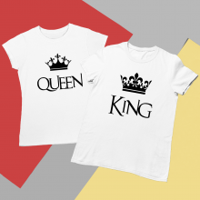 Set de tricouri albe King/Queen CROWN