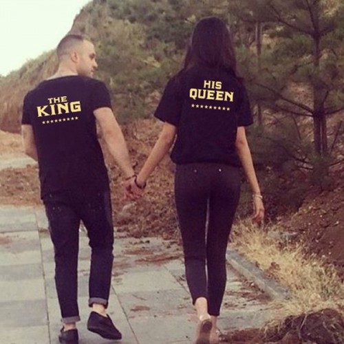 Tricou de cuplu negru The King/His Queen Gold