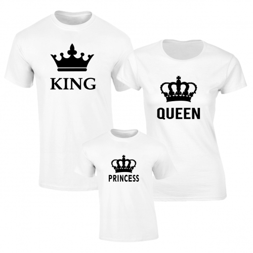 Set de tricouri albe King Queen BIG fata