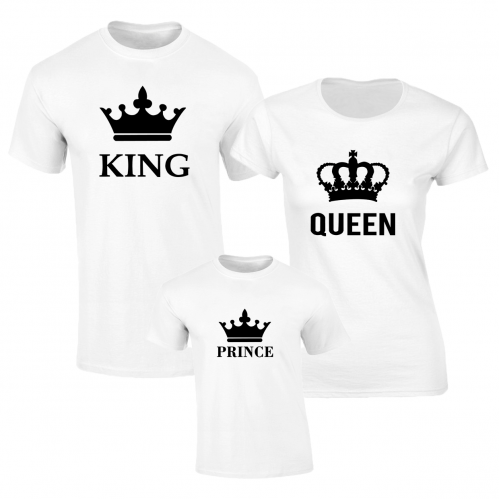 Set de tricouri albe King Queen Baiat BIG