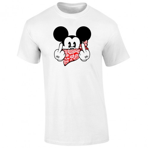 Tricou barbatesc ALB Mickey Mouse Gangster